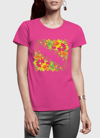 Aneeq Arshad T-shirt SMALL / Pink Floral Twist Half Sleeves Women T-shirt