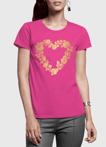 Aneeq Arshad T-shirt SMALL / Pink Flower Heart Half Sleeves Women T-shirt