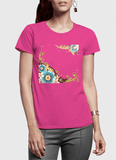 Aneeq Arshad T-shirt SMALL / Pink Flowers Vector Half Sleeves Women T-shirt