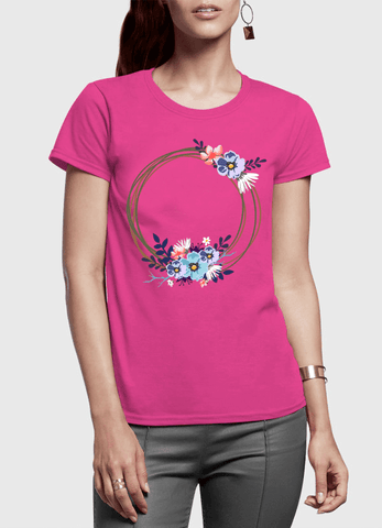 Aneeq Arshad T-shirt SMALL / Pink Ring Floral Half Sleeves Women T-shirt