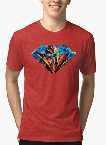Aneeq Arshad T-shirt SMALL / Red Abstract Super Logo Half Sleeves Melange T-shirt
