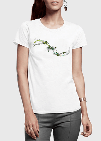 Aneeq Arshad T-shirt SMALL / White Abstract Simple Half Sleeves Women T-shirt