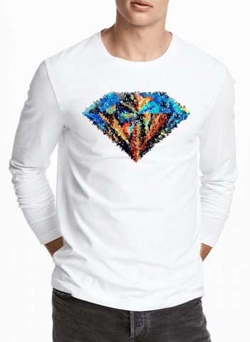 Aneeq Arshad T-shirt SMALL / White Abstract Super Logo Full Sleeves T-shirt