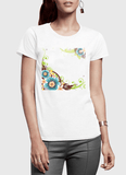 Aneeq Arshad T-shirt SMALL / White Flowers Vector Half Sleeves Women T-shirt