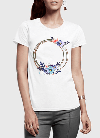 Aneeq Arshad T-shirt SMALL / White Ring Floral Half Sleeves Women T-shirt