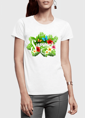 Aneeq Arshad T-shirt SMALL / White Summer Time Half Sleeves Women T-shirt