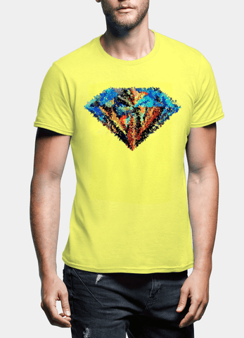 Aneeq Arshad T-shirt SMALL / Yellow Abstract Super Logo Half Sleeves T-shirt