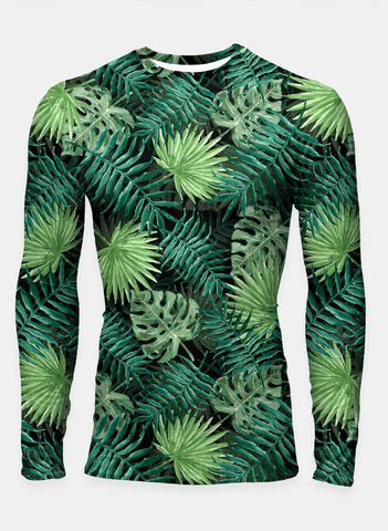 Ayaz Akram T-SHIRT Bright Green Fern Palm and Monstera Tropical Jungle Plants T-Shirts