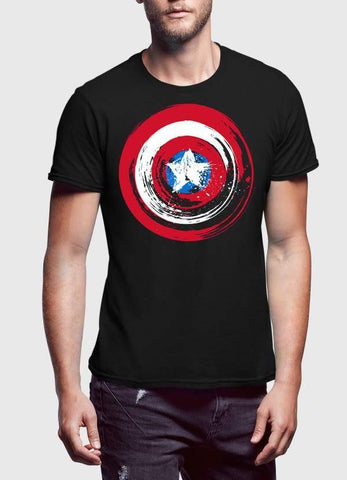 Captain America T-SHIRT Captain America Shield 3 Half Sleeve Men T-Shirt