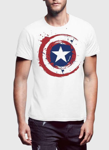 Captain America T-SHIRT Captain America Shield Half Sleeve Men T-Shirt