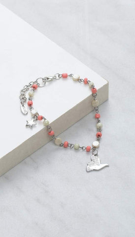 Chumbak India Accesories Beady Bird Anklet- Coral