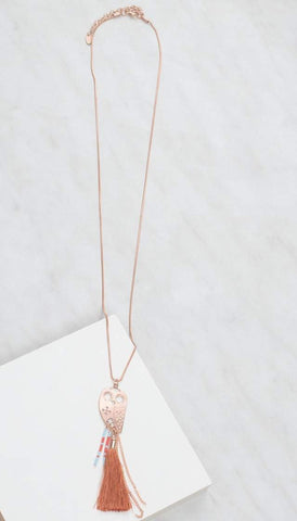 Chumbak India Accesories Bohemian Owl Necklace  Rose Gold