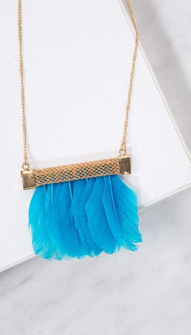 Chumbak India Accesories Feather Love Necklace -Blue