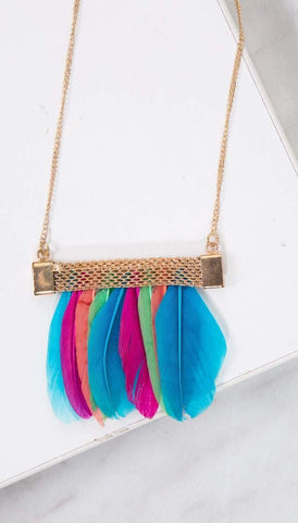 Chumbak India Accesories Feather Love Necklace Multi