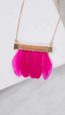 Chumbak India Accesories Feather Love Necklace Pink