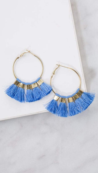 Chumbak India Accesories Tasselled Hoop Earrings  Blue