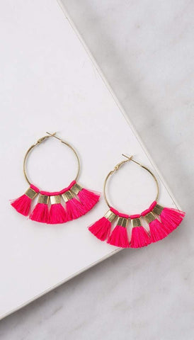 Chumbak India Accesories Tasselled Hoop Earrings  Pink