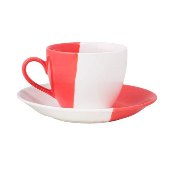 Chumbak India Mug Colour Dip Cup & Saucer - Coral