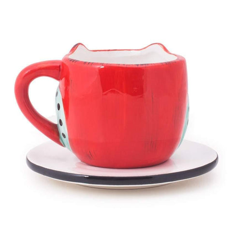 Chumbak India Mug Wide Eyed Owl Cup & Saucer - Red