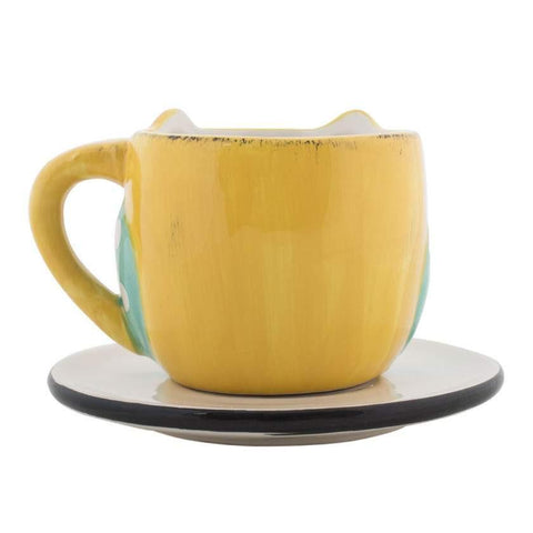 Chumbak India Mug Wide Eyed Owl Cup & Saucer Yellow
