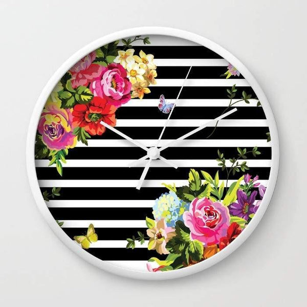 Dany Designs Wall Clock Stripes Floral Wall clock