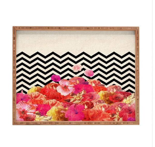 Deny Designs Trays Chevron Flora Tray