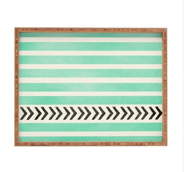 Deny Designs Trays Mint Stripes And Arrows Tray