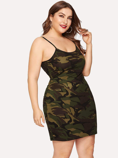 Emma Clothing Women 1XL Plus Camo Print Cami Dress