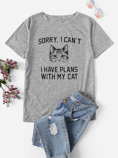 Emma Clothing Women 1XL Plus Cat And Slogan Graphic Tee