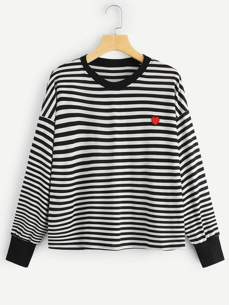 Emma Clothing Women 1XL Plus Striped Drop Shoulder Tee