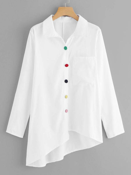 Emma Clothing Women 2XL Plus Colorful Button Decorated Asymmetric Hem Blouse