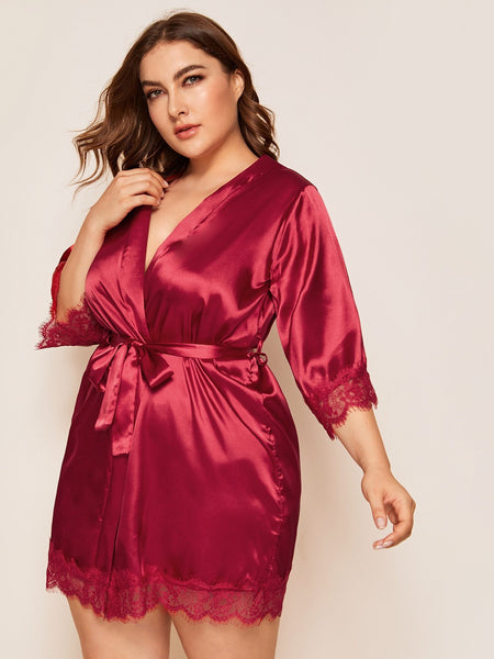 Emma Clothing Women 3XL Plus Lace Trim Satin Robe & Belt Without Lingerie Set