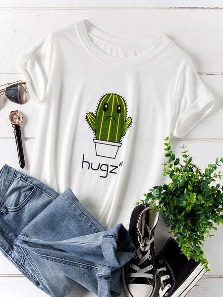 Emma Clothing Women 4XL Plus Cactus And Letter Print Tee
