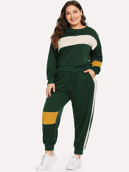 Emma Clothing Women 4XL Plus Color-block Sweatshirt With Pants