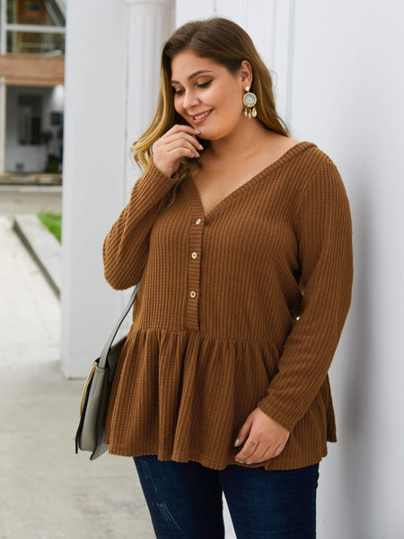 Emma Clothing Women 4XL Plus Solid Button Front Waffle Knit Peplum Sweater