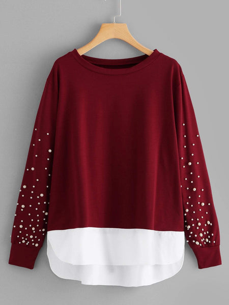 Emma Clothing Women 5XL Plus Pearls 2 In 1 Sweatshirt