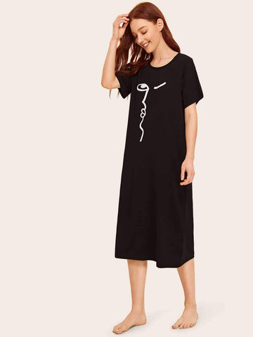 Emma Clothing Women L Abstract Face Print Night Dress