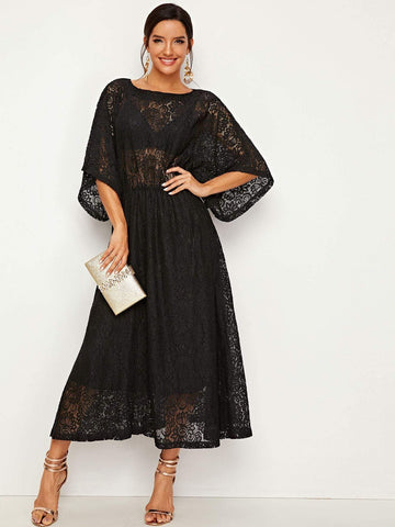 Emma Clothing Women L Allover Lace Sheer Longline Dress
