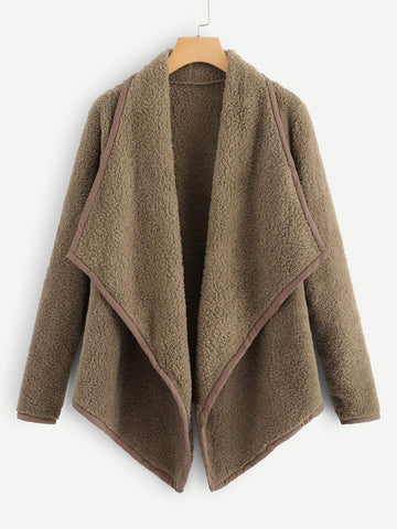 Emma Clothing Women L Asymmetrical Hem Teddy Coat
