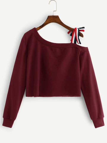 Emma Clothing Women L Asymmetrical Neck Knot Detail Crop Sweatshirt