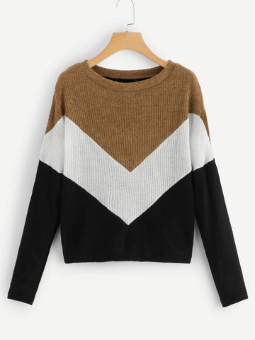 Emma Clothing Women L Colorblock Contrast Panel Sweater