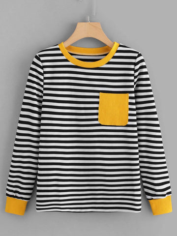 Emma Clothing Women L Contrast Pocket Striped Tee