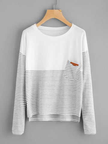 Emma Clothing Women L Contrast Striped Dip Hem Tee