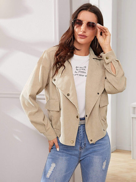 Emma Clothing Women L Dual Pocket Button Front Corduroy Jacket