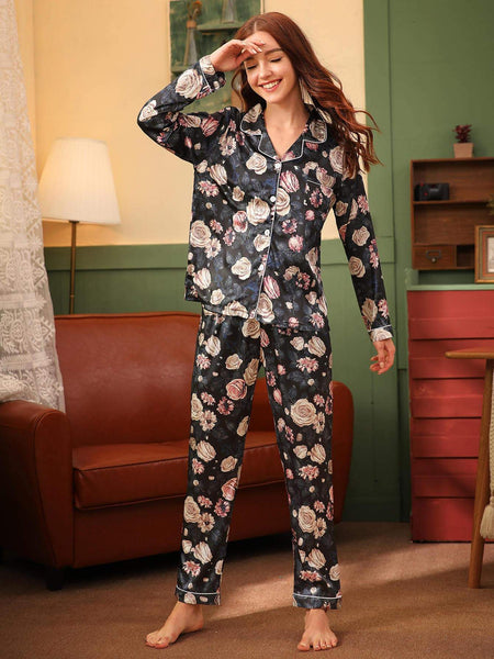 Emma Clothing Women L Floral Print Button Front Satin PJ Set