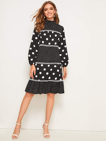 Emma Clothing Women L Frill Neck Polka Dot Ruffle Hem Midi Dress