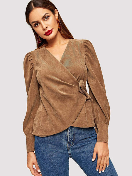 Emma Clothing Women L Puff Sleeve Side Tie Wrap Corduroy Blouse