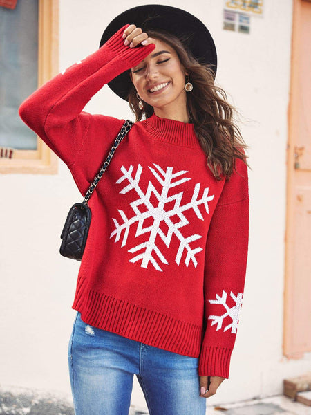 Emma Clothing Women L Snow Print Drop Shoulder Jumper