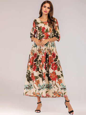 Emma Clothing Women M Allover Floral Pleated Longline Dress