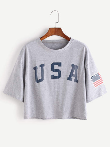 Emma Clothing Women M American Flag Letter Print Drop Shoulder Tee